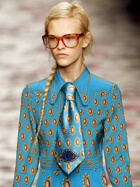 A model presents a creation from the Gucci's Spring/Summer 2016 collection during Milan Fashion Week in Italy September 23, 2015. (Photo by Stefano Rellandini/Reuters)