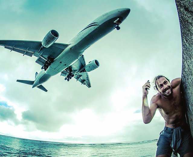 This man is certainly knows how to enjoy life travelling the South Pacific and posing for selfies with a whale. Australian carpenter Will Rosner, 24, from Sydney, Australia, has been travelling the world for the past 18 months but nothing could have prepared him for this incredible postcard moment. Swimming in the pristine waters of the Tonga in the Pacific Ocean Will was lucky enough to have the chance to swim with an entire pod of humpback whales. (Photo by WIll Rosner/Caters News)