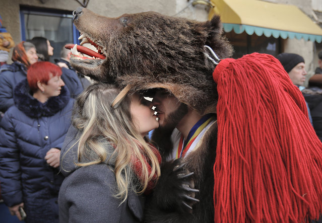 In this Saturday, December 30, 2017, picture a man wearing a bear fur costume kisses his girlfriend during an annual bear parade in Comanesti, Romania. (Photo by Vadim Ghirda/AP Photo)