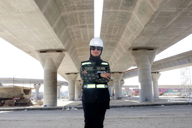 Mai Ibrahim Al-Mesad, Project Manager of the maritime section of the Jaber Al-Ahmad Causeway, poses for a picture at the construction site in Kuwait City on March 4, 2018. The Jaber Al-Ahmad Causeway is considered one of the longest in the world, covering a total distance of 37 kilometers between Kuwait City and Subbiy. (Photo by Yasser al-Zayyat/AFP Photo)