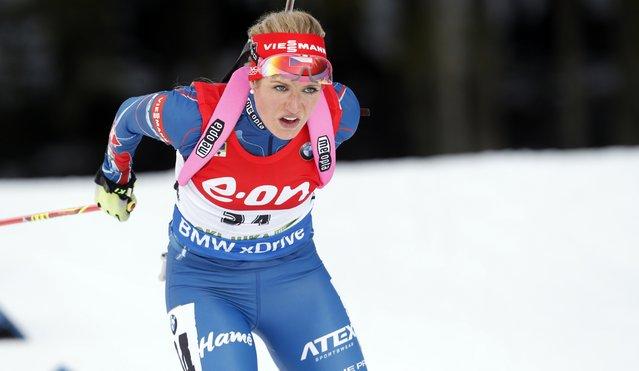 Czech Republic's winner Gabriela Soukalova competes in the 7.5 km sprint women competition at the Biathlon World Cup event in Pokljuka, Slovenia, Thursday, December 18, 2014. (Photo by Darko Bandic/AP Photo)