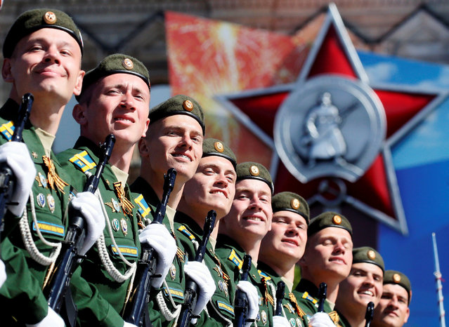 Russian servicemen march during the Victory Day parade, marking the 73rd anniversary of the victory over Nazi Germany in World War Two, at Red Square in Moscow, Russia May 9, 2018. (Photo by Maxim Shipenkov/Reuters)