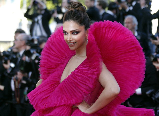 """Deepika Padukone is seen leaving the Martinez Hotel ahead of the """"Ash Is The Purest White (Jiang Hu Er Nv)"""" during the 71st annual Cannes Film Festival at on May 11, 2018 in Cannes, France. (Photo by Regis Duvignau/Reuters)"""