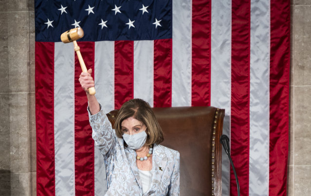 Speaker of the House Nancy Pelosi of Calif., waves the gavel on the opening day of the 117th Congress on Capitol Hill in Washington, Sunday, January 3, 2021. (Photo by Bill Clark/Pool via AP Photo)