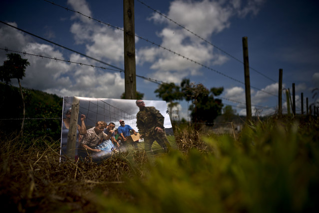 A printed photograph taken on October 7, 2017 sits at the same spot where Puerto Rican National Guards delivered food and water to desperate residents in the aftermath of Hurricane Maria on a farm in the San Lorenzo neighborhood of Morovis, Puerto Rico, May 26, 2018. For two months, stranded residents came to this spot for supplies handed out by the National Guard after the passing of the storm. (Photo by Ramon Espinosa/AP Photo)