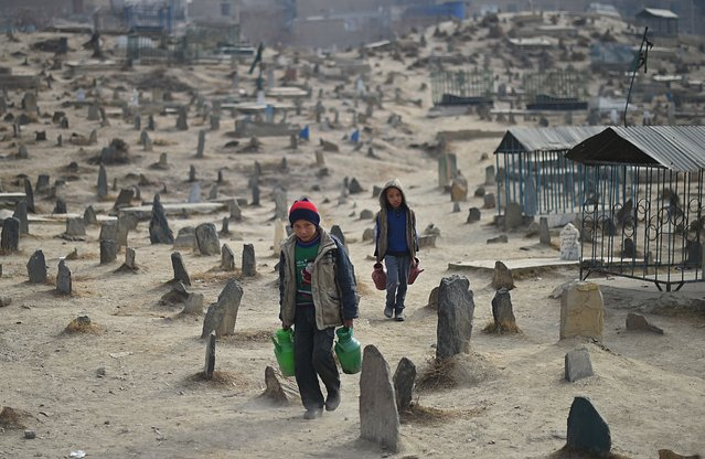 Afghan children who work as water vendors search for customers at the Kart-e-Sakhi cemetery in Kabul on January 12, 2015. Thousands of victims of the country's civil war which raged from 1992 to 1996 are buried in cemetries across the Afghan capital. (Photo by Shah Marai/AFP Photo)
