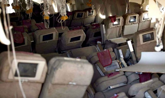 Photo taken inside the Asiana Airlines Boeing 777 that crashed on the San Francisco airport. (Photo by NTSB/EyePress/NEWSCOM/SIPA)