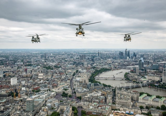 Ministry of Defence handout photo of Chinooks from RAF Odiham as they take part in the  Royal Air Force flypast over central London to mark the centenary of the RAF on Tuesday, July 10, 2018. (Photo by SAC Pippa Fowles (RAF)/PA Wire)