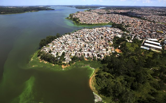 An aerial view of shows illegally built slums on the border of the polluted water of Billings reservoir in Sao Paulo February 12, 2015. According to local media, the Billings dam supplies 1.6 million people in the Greater ABC region of Greater Sao Paulo and the state government wants to treat the water to be adequate for human consumption, adding to the complexity of securing safe water supply during the drought. (Photo by Paulo Whitaker/Reuters)