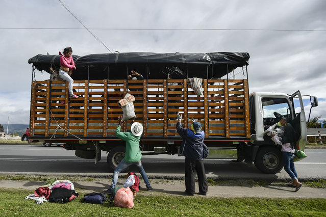 Members of Venezuelan migrant families Mendoza Landinez and Lomelly get off a truck on the Pan- American highway, between Pasto and Ipiales in Colombia, on their way to Peru, on August 23, 2018. On foot, by bus, on the backs of juddering trucks, like tens of thousands of others they slogged for days along the Pan- American highway through Colombia and Ecuador. Grubby and sleepless, their goal was to reach Peru, a sanctuary of sorts for a desperate Venezuelan family. (Photo by Luis Robayo/AFP Photo)