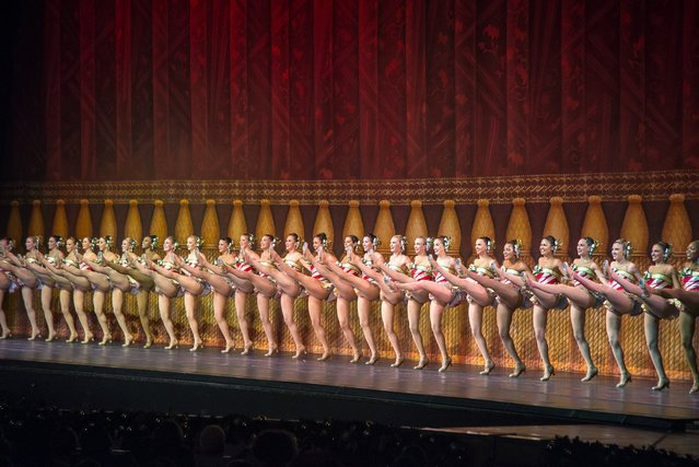 The Rockettes perform on stage during the 2015 Radio City Christmas Spectacular Opening Night at Radio City Music Hall on November 18, 2015, in New York City. (Photo by Mike Pont/Getty Images)