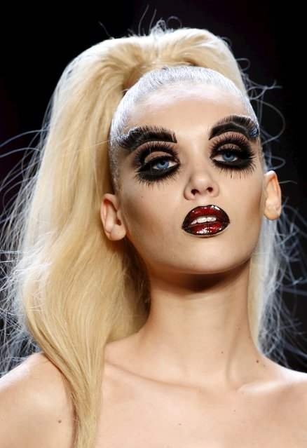 A model presents makeup creations during a show by Maybelline New York at the Berlin Fashion Week Autumn/Winter 2016 in Berlin, Germany, January 18, 2016. (Photo by Fabrizio Bensch/Reuters)