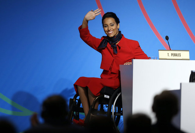 In this file photo dated Saturday, September 7, 2013, Spain's paralympic swimmer Teresa Perales waves during an IOC session during the Madrid 2020 bid presentation in Buenos Aires, Argentina. Paralympic champion swimmer Teresa Perales has won Spain's annual Princess of Asturias award for sports, it is announced Wednesday June 2, 2021. (Photo by Natacha Pisarenko/AP Photo/File)