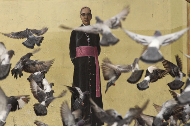 In this October 3. 2018 photo, pigeons fly in front of a mural of Archbishop Oscar Arnulfo Romero, on a wall of the Metropolitan Cathedral in San Salvador, El Salvador. Romero, who was killed in 1980 by a right wing will death squad during Mass, will be canonized in Rome by Pope Francis on Sunday, Oct. 14, 2018. (Photo by Salvador Melendez/AP Photo)
