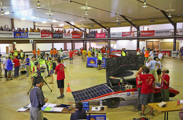 A general view as solar cars are presented to the scrutineers for inspection and confirmation of their regulatory compliance and structural integrity on October 2, 2013 in Darwin, Australia. (Photo by Scott Barbour/Getty Images for the World Solar Challenge)