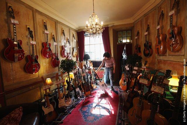 guitars in a shop on Denmark Street