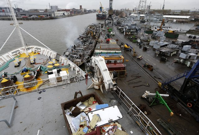 General view of the Galloo ship recycling plant in Ghent from a French seismic vessel, February 25, 2015. (Photo by Francois Lenoir/Reuters)