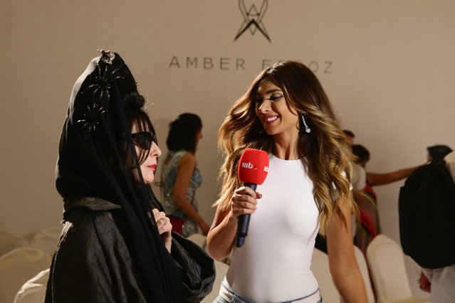 Diane Pernet is interviewed at the Amber Feroz presentation during Dubai Fashion Forward April 2015 at Madinat Jumeirah on April 12, 2015 in Dubai, United Arab Emirates. (Photo by Vittorio Zunino Celotto/Getty Images for Fashion Forward)