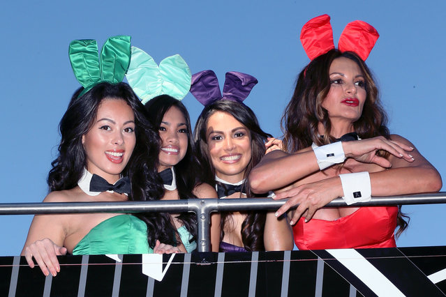 2013 Playmate of the Year Raquel Pomplun (2nd from R) and Playboy Bunnies attend Playboy celebratings it's 60th anniversary with a 60 Bunnies Bus Tour at Playboy World Headquarters on January 16, 2014 in Beverly Hills, California. (Photo by David Livingston/Getty Images)