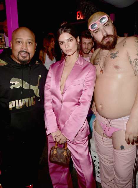 Daymond John, Emily Ratajkowski and Josh Ostrovsky aka The Fat Jew attend the Pink Party III Hosted By BABE And Tarte at Villian on February 23, 2019 in Brooklyn, New York. (Photo by Chance Yeh/Getty Images for BABE)