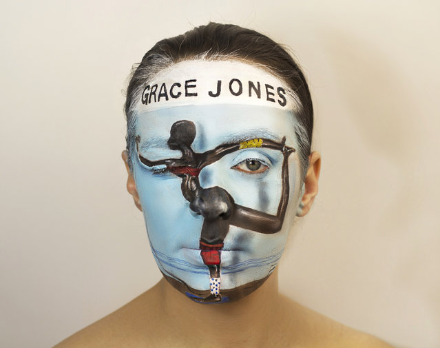 "Grace Jones album. Natalie, who is also a vocalist in a band named ""The Lone Taxidermist"", says she wanted to combine her love of art and music in a unique way as well as celebrating the history of vinyl. (Photo by Natalie Sharp/Caters News)"