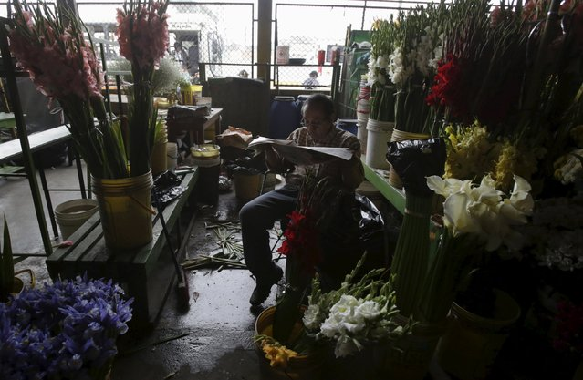A florist waits for customers at the Piedra Liza flower market in Lima April 29, 2015. The market sells flowers that come from all over Peru. Peru is home to more than 25,000 varieties of flowering plants like geraniums, carnations, roses, hydrangeas and jasmine, according to local media. REUTERS/Mariana Bazo