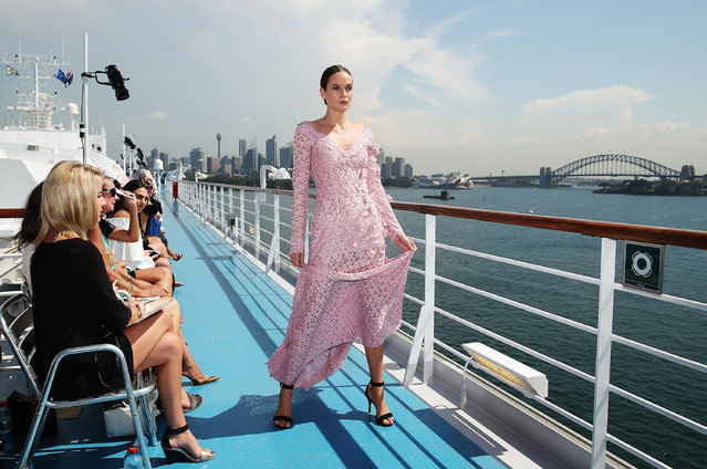A model walks the runway during Jessica Minh Anh's J Spring Fashion Show aboard the Costa Luminosa, showcasing designs by Begitta, Syeda Amera, Chotronette, Beverley Riverina, Jad Ghandor and Rouba.G in Sydney Harbour March 14, 2016 in Sydney, Australia. (Photo by Brendon Thorne/Getty Images)