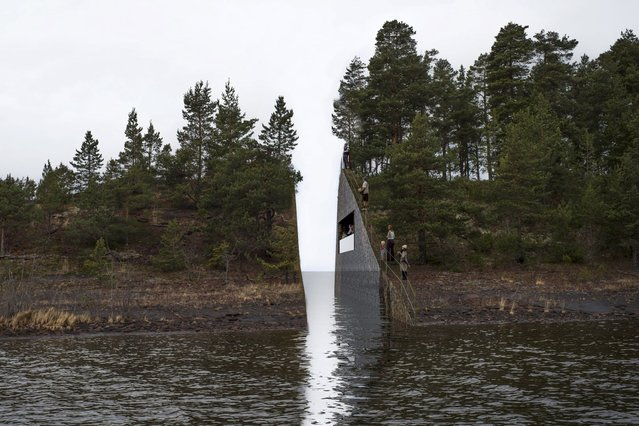 A sketch of the memorial to the victims of mass killer Anders Behring Breivik is seen in this handout image provided to Reuters by KORO, Norway, March 22, 2016. (Photo by Reuters/KORO)