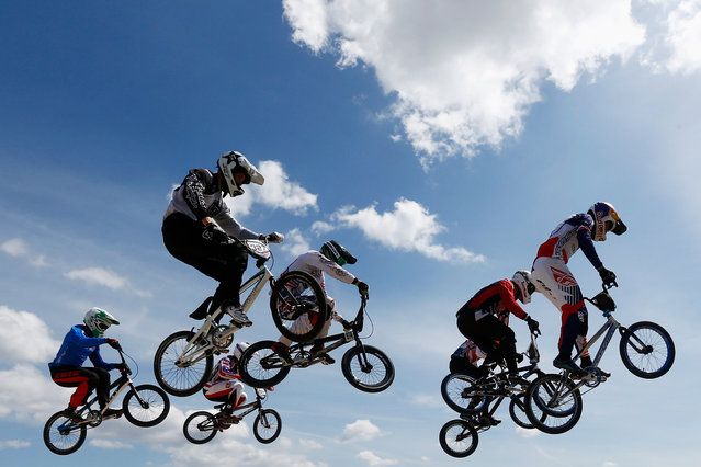 The mens riders warm up prior to the finals in the UCI BMX Supercross World Cup held at the Papendal Outdoor Olympic Training Centre on May 10, 2015 in Arnhem, Netherlands. (Photo by Dean Mouhtaropoulos/Getty Images)
