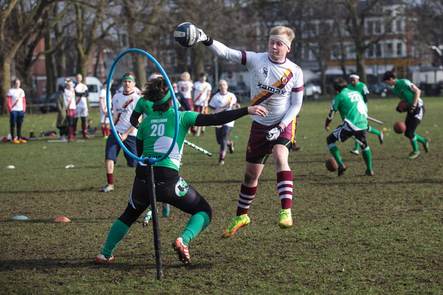 A Werewolves of London quidditch player shoots during a game against the Keele Squirrels at the Crumpet Cup quidditch tournament on Clapham Common on February 18, 2017 in London, England. (Photo by Jack Taylor/Getty Images)