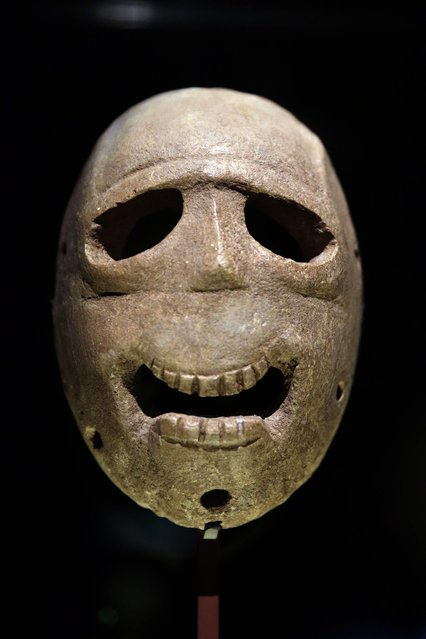 In this  Monday, March 10, 2014 photo, a 9,000 year-old mask is on display at the Israel Museum in Jerusalem.  (Photo by Tsafrir Abayov/AP Photo)