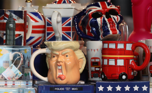 A tankard depicting the face of U.S. President, Donald Trump, is displayed in a souvenir shop in central London, Britain July 11, 2018. (Photo by Simon Dawson/Reuters)