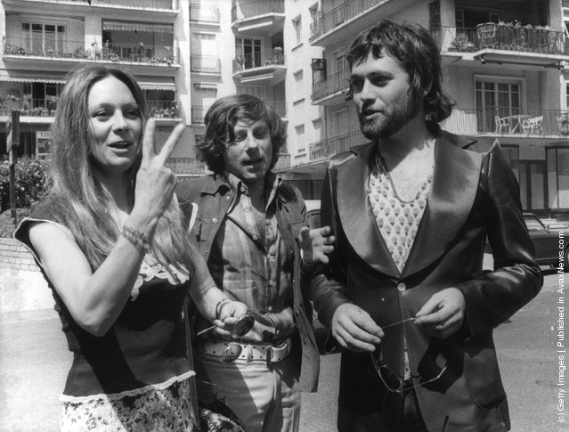 1972: English actors Francesca Annis and Jon Finch with the Polish director Roman Polanski (centre) at the Cannes Film Festival. Annis and Finch star in Polanski's version of MacBeth