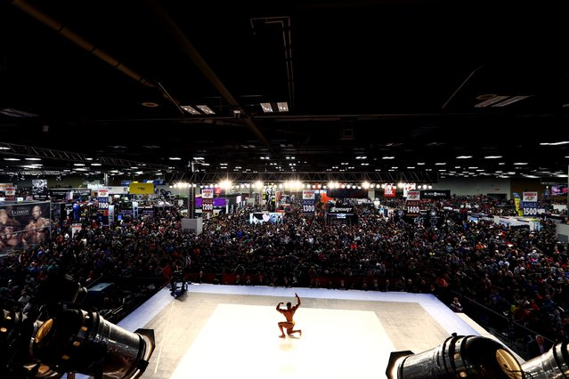 An Arnold Amateur   Bodybuilding contestant poses on stage at the Greater Columbus Convention Center during the Arnold Sports Festival 2017 on March 4, 2017 in Columbus, Ohio. (Photo by Maddie Meyer/Getty Images)