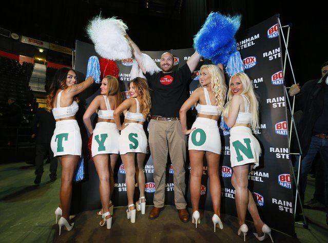Boxing, Tyson Fury & Wladimir Klitschko Head-to-Head Press Conference, Manchester Arena on April 27, 2016: Tyson Fury poses with cheerleaders during the head to head press conference. (Photo by Jason Cairnduff/Reuters/Action Images/Livepic)