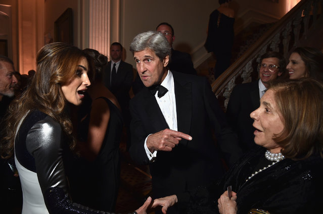 From left, Queen Rania of Jordan, Secretary of State John F. Kerry and his wife, Teresa Heinz, attend the Bloomberg & Vanity Fair cocktail reception on April 30, 2016 in Washington, DC. (Photo by Dimitrios Kambouris/VF16/WireImage/Getty Images)