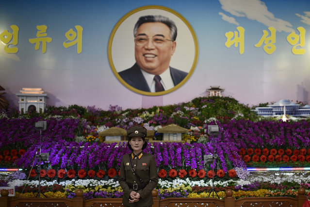 """A picture made available on 06 May 2016 shows a woman in uniform standing before the portrait of Kim Il-sung during the Immortal Flower Festival """"Kimilsungia"""" in Pyongyang, North Korea, 13 April 2016. North Korea will hold the party congress of its ruling Korean Workers' Party for the first time in 36 years on 06 May 2016. (Photo by Franck Robichon/EPA)"""