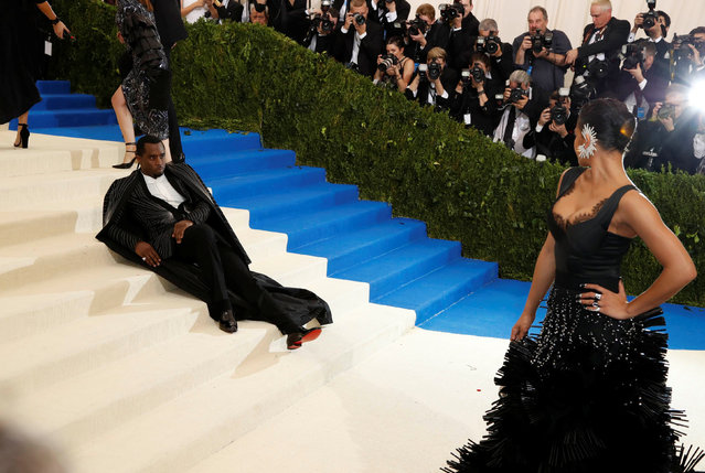 """Cassie and Sean Diddy Combs attend """"Rei Kawakubo/Comme des Garcons: Art Of The In-Between"""" Costume Institute Gala – Arrivals at Metropolitan Museum of Art on May 1, 2017 in New York City. (Photo by Lucas Jackson/Reuters)"""