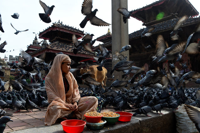 A girl waits for customers to sell grains to feed pigeons at Basantapur Durbar Square in Kathmandu, Nepal on August 22, 2019. (Photo by Prakash Mathema/AFP Photo)