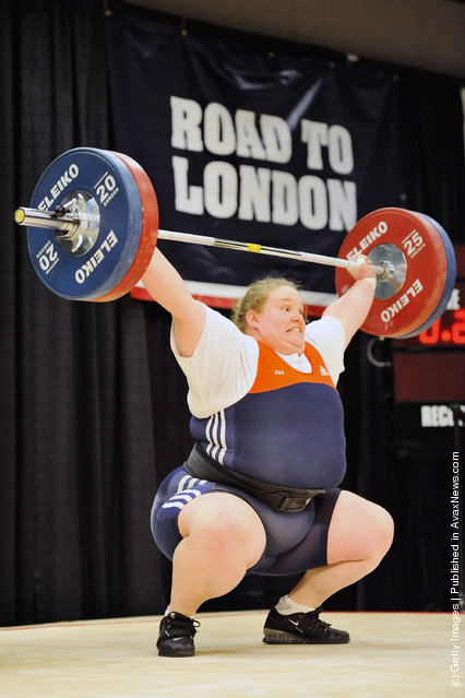 Holley Mangold successfully snatches 110 kilograms during the 2012 U.S. Olympic Team Trials for Women's Weightlifting