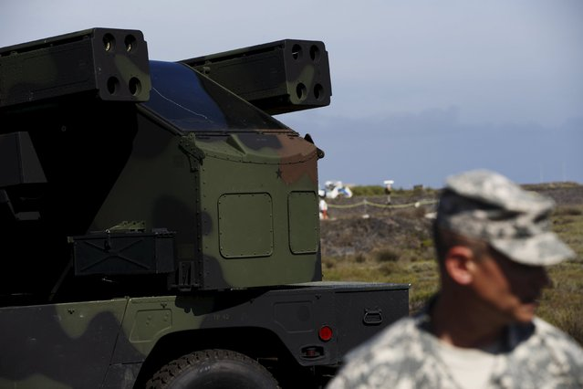"""The US Army Avenger Air Defense System (AN/TWQ-1) used to fire Stinger missiles is displayed with two test missiles during """"Black Dart"""", a live-fly, live fire demonstration of 55 unmanned aerial vehicles, or drones, at Naval Base Ventura County Sea Range, Point Mugu, near Oxnard, California July 31, 2015. (Photo by Patrick T. Fallon/Reuters)"""