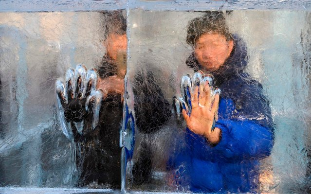 A man puts his hands in a handprint in the Ice Maze, the largest clear ice maze in the United States, at the City Center in Washington, DC on December 15, 2019. (Photo by Andrew Caballero-Reynolds/AFP Photo)