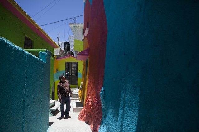 """Alfonso Santiago Reyes looks up at the newly painted facade of his home that is part of a government-sponsored project called Pachuca Paints Itself, in the Palmitas neighborhood of Pachuca, Mexico, Thursday, July 30, 2015. """"The neighborhood looks better than before and the colors make people happy"""", said Reyes. The painters are from the artist collective German Crew. (Photo by Sofia Jaramillo/AP Photo)"""