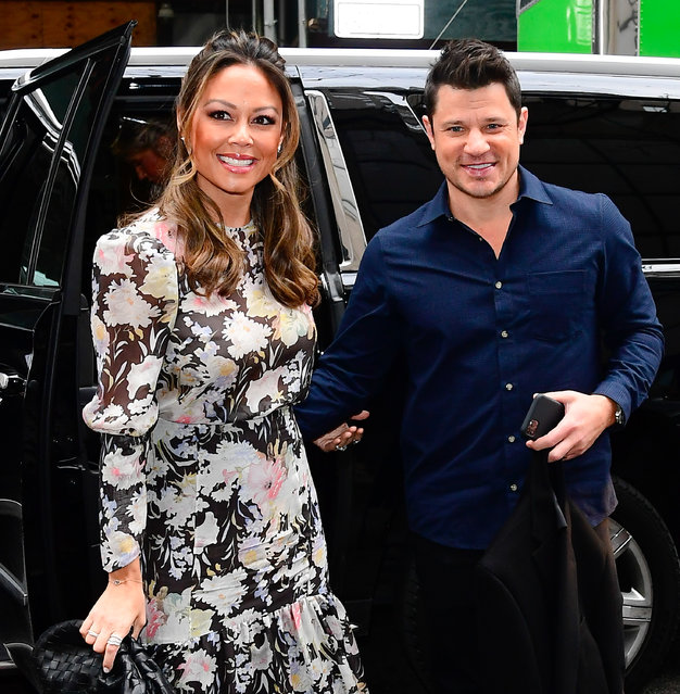 Nick Lachey and Vanessa Lachey are seen outside the today show on February 3, 2020 in New York City. (Photo by Raymond Hall/GC Images)