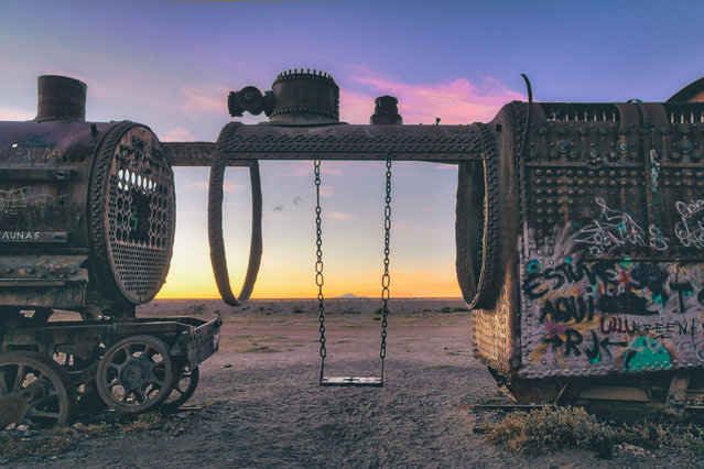 A swing inside the shell of an old locomotive. (Photo by Chris Staring/Rex Features/Shutterstock)