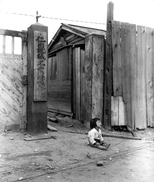 A small South Korean child sits alone in the street, after elements of the 1st Marine Div. and South Korean Marines invaded the city of Inchon, in an offensive launched against the North Korean forces in that area.  September 16, 1950. (Photo by Pfc. Ronald L. Hancock)