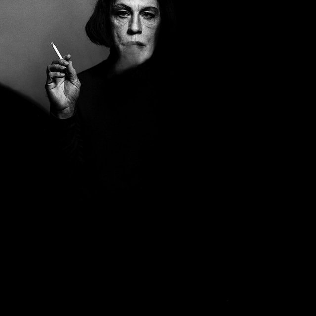 "John Malkovich is seen as Bette Davis in a re-creation of the 1971 portrait of the actress taken by Victor Skrebneski. Because of their longtime friendship, Sandro says, ""I would direct him, he understands light and direction so well, we usually had the shot within 15-20 minutes"". (Photo by Sandro Miller/Catherine Edelman Gallery)"