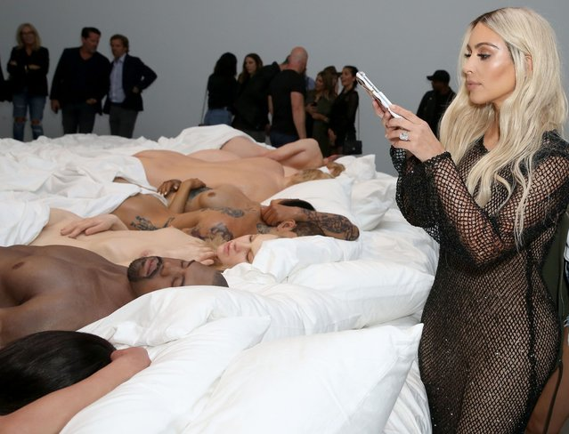 Kim Kardashian attends Famous by Kanye West a private exhibition event at Blum And Poe, Los Angelesat Blum & Poe on August 26, 2016 in Los Angeles, California. (Photo by Rachel Murray/Getty Images for Kanye West)