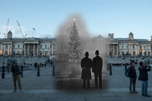 Archive: Two policemen regard London's 64ft Christmas tree, a gift from Norway, illuminated in Trafalgar Square, in front of the National Gallery on December 1, 1948 in London, England. (Photo by Warburton/Topical Press Agency/Getty Images) Modern Day: Visitors walk through Trafalgar Square on November 23, 2017 in London, England. (Photo by Peter Macdiarmid/Getty Images)