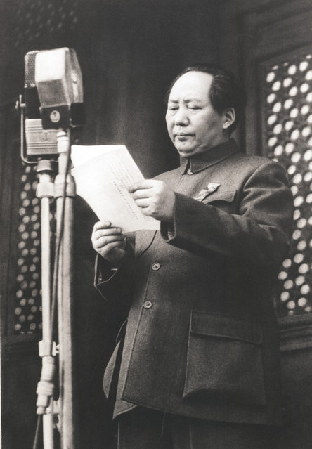 Chairman Mao solemnly proclaims the founding of the People's Republic of China on the Tiananmen Square Gate rostrum in Beijing, China, on October 1, 1949. (Photo by AP Photo)